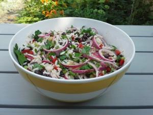 rijstsalade met zwarte bonen